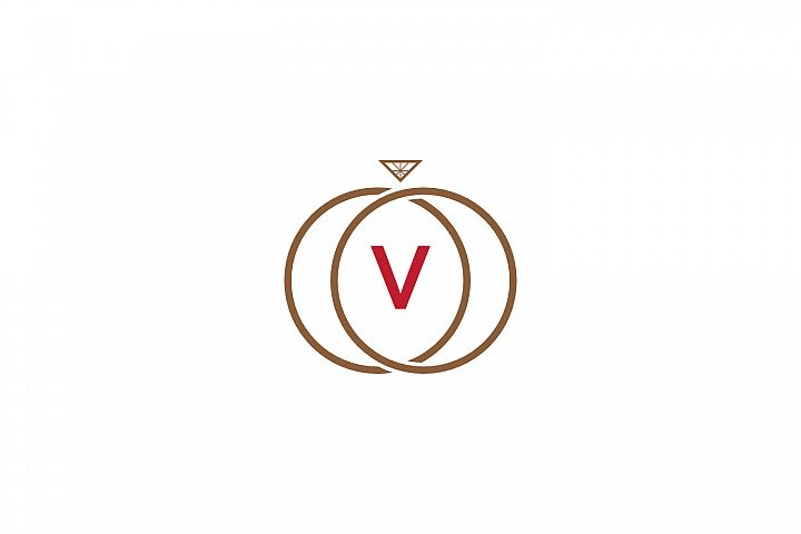 v letter ring diamond logo