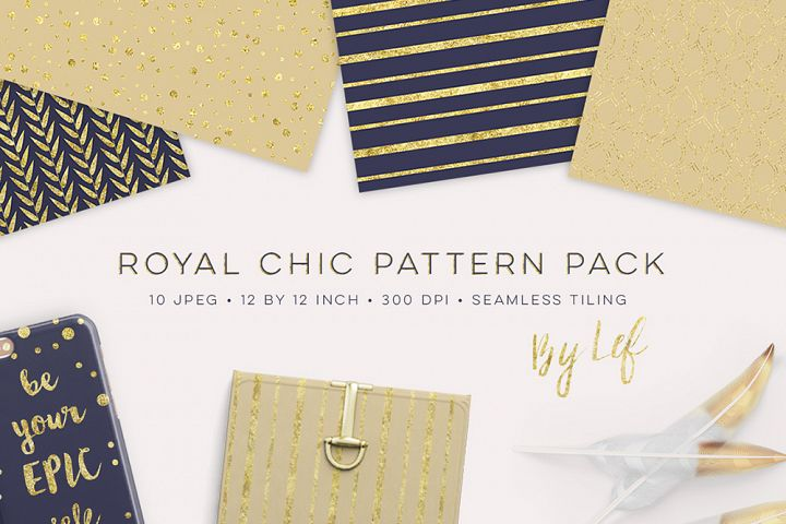 Gold and Navy Blue Patterns Tiling - seamless digital paper