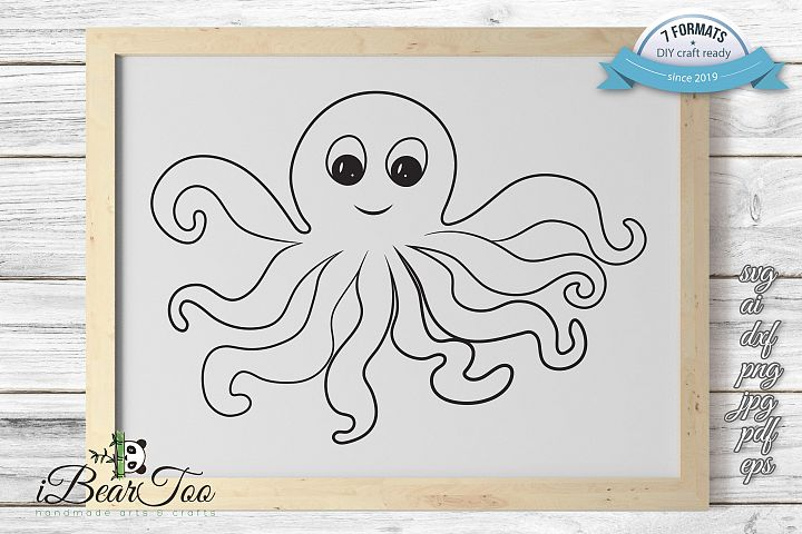 Octopus Outline SVG Squid Clipart Calamari Vector Cut Files