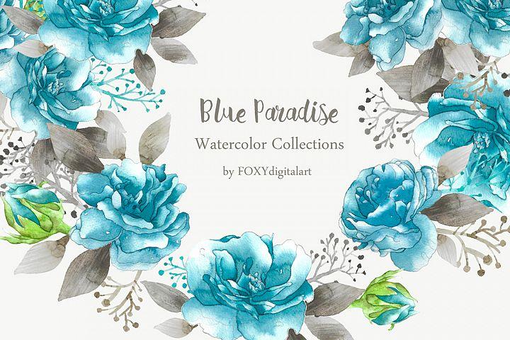Watercolor Flower Wedding Invitation Roses