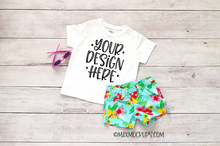 White kids shirt mockup, shorts and sunglasses