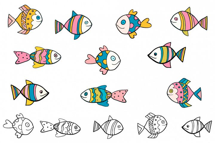 Cute hand drawn doodle fish clipart