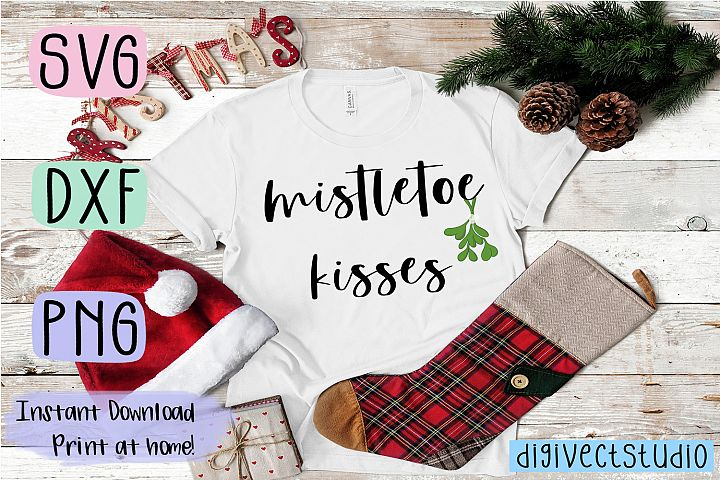 Mistletoe Kisses - SVG, DXF, PNG cut file - Cutting file