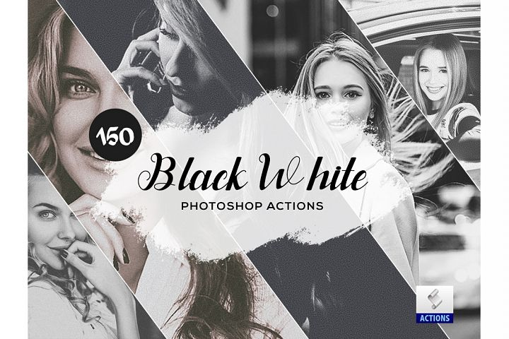 150 Black White Photoshop Actions