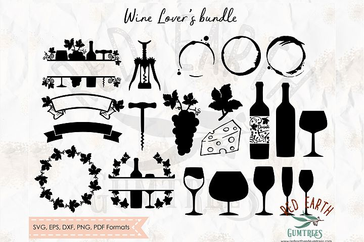 Wine lovers element bundle, wine glass SVG,DXF,PNG,EPS,PDF
