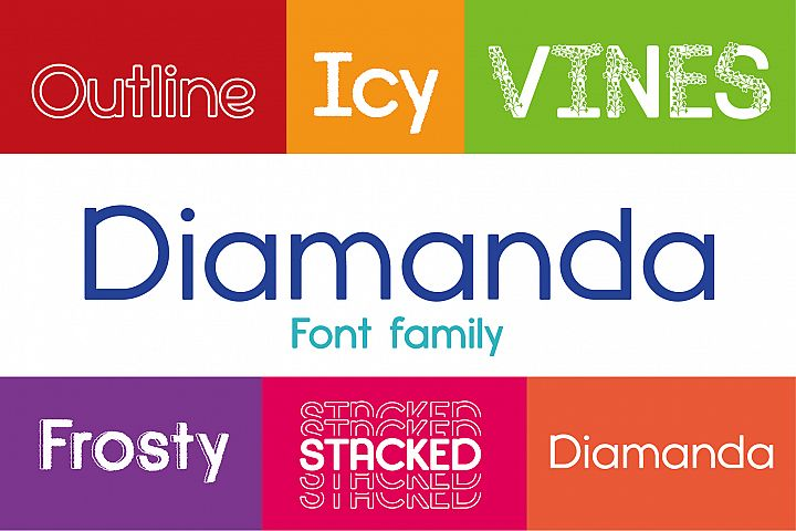Diamanda Font Family Bundle includes 6 crafting fonts
