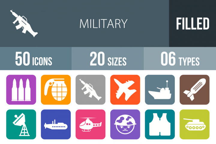 50 Military Filled Round Corner Icons