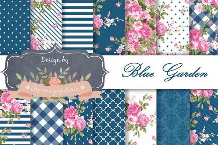 Dark blue Floral Digital Paper Shabby Chic paper