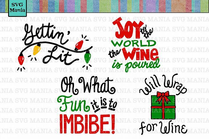Christmas Wine Glass SVG Bundle, Funny Christmas Wine SVG