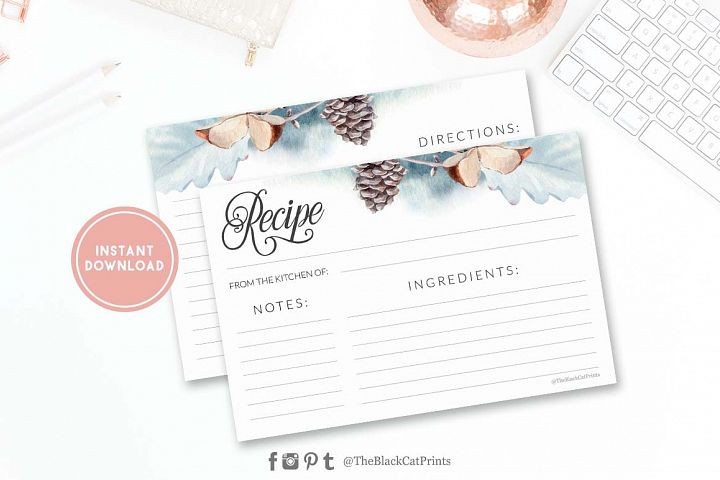 Winter Watercolor Recipe card | Printable | Double Sided