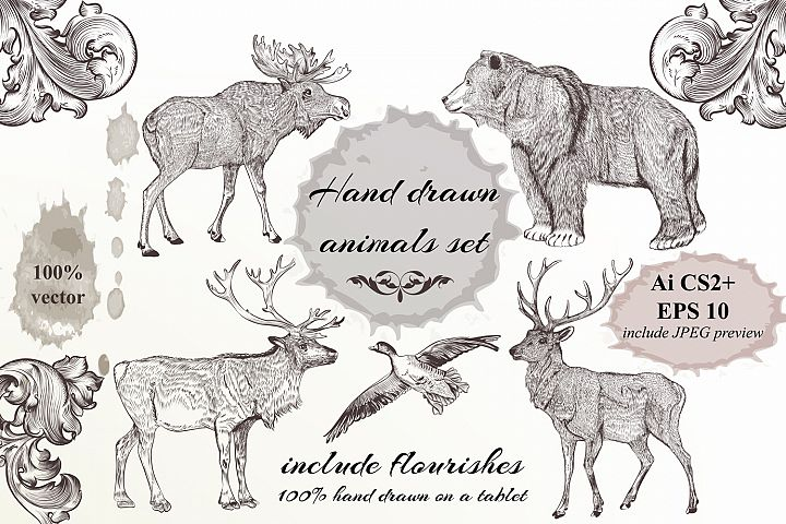 Collection of hand drawn engraved animals in vintage style