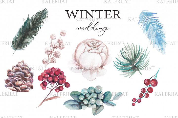 Watercolor winter wedding floral clipart