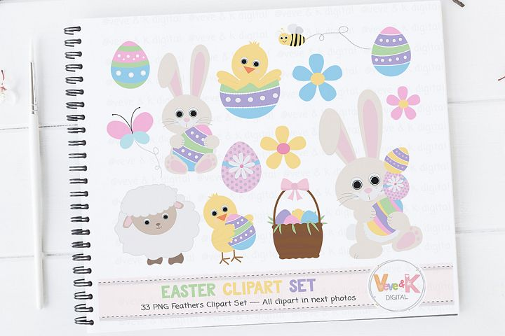 Easter Bunny Clipart, Easter Clipart, Easter Graphics, Spring Flowers, Easter eggs basket, Easter egg hunt, Spring Clipart, Spring Critters