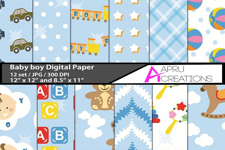 Baby Boy digital papers / kids digital paper doodles texture