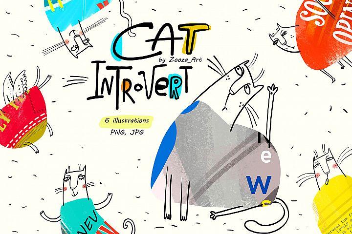 Cat Introvert - 6 illustrations