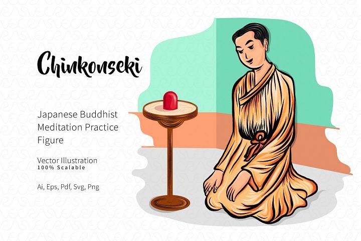 Chinkonseki Japanise Buddhist Meditation Figure Vector