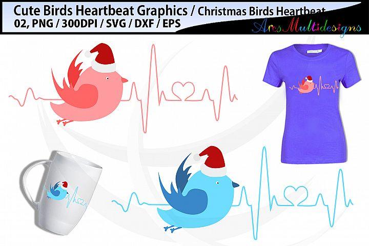 Christmas bird heartbeat SVG / Bird Heartbeat svg Graphics
