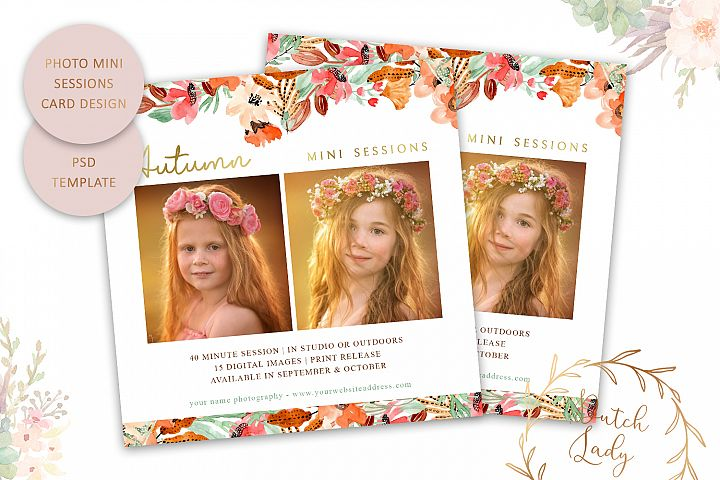 PSD Photo Mini Session Card Autumn & Fall Template - #46