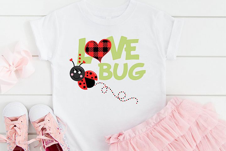Valentines Day SVG Love Bug Buffalo Plaid Heart Sublimation