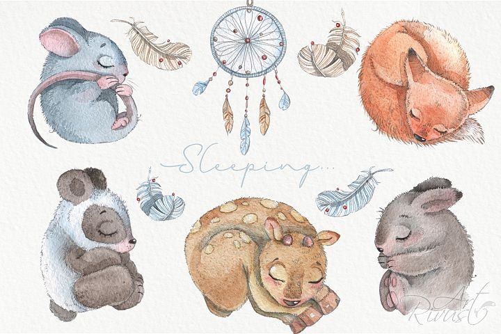 Cute sleeping baby animals watercolor clipart kit