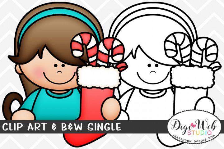 Clip Art & B&W Single - Topper Girl w/ A Christmas Stocking