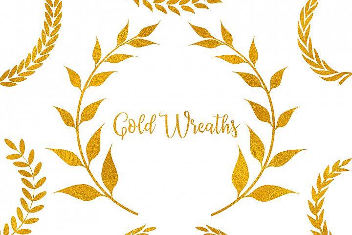 Gold Wreaths Clipart,Gold Frame Clipart,Floral Gold Frame