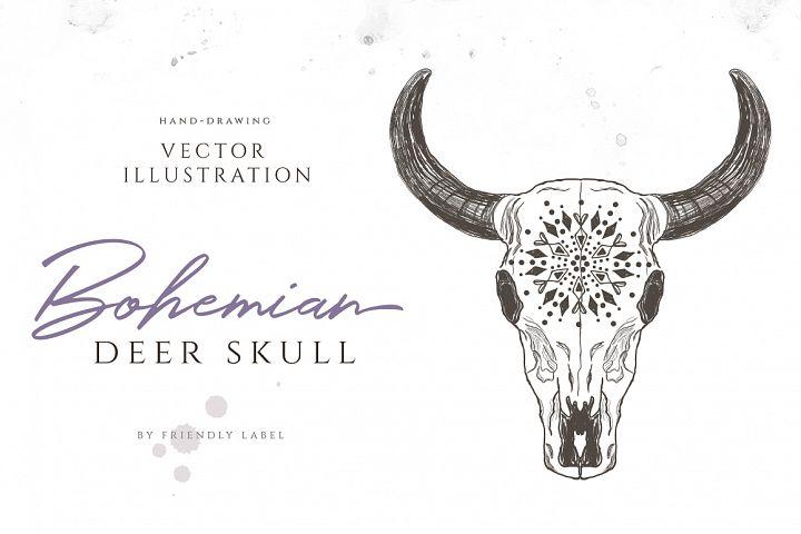 Bohemian Deer Skull