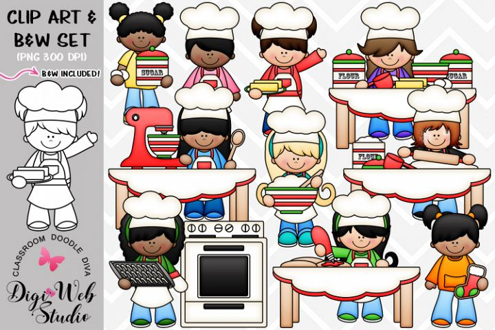 Clip Art / Illustrations - Baking Christmas Cut-Out Cookies