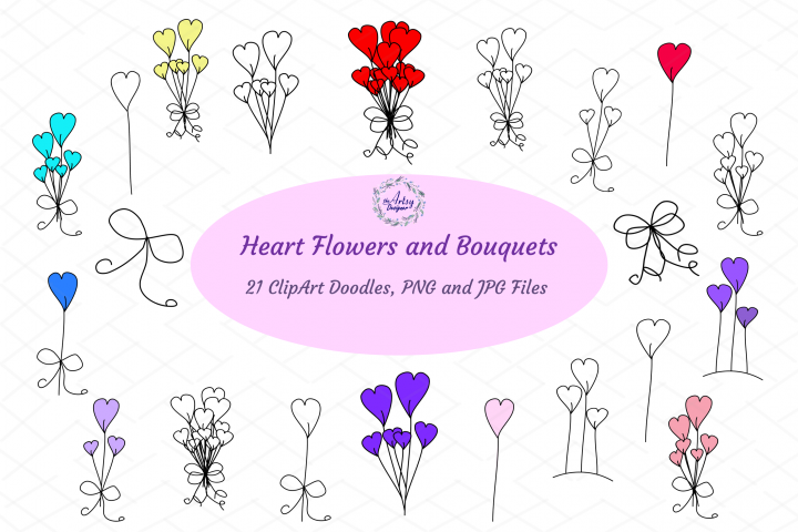 Heart Flowers Bouquet Valentines Day Romance ClipArt Bundle