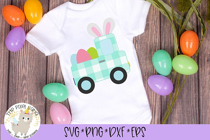 Plaid Easter Truck SVG Cut File