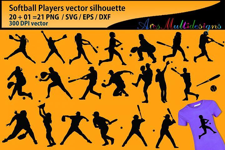 Softball svg silhouette / softball players Svg / bundle