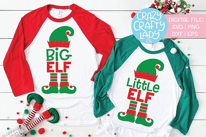 Big & Little Elf Christmas SVG DXF EPS PNG Cut File Bundle