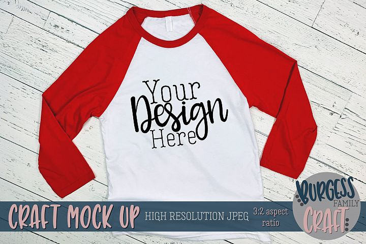 Red raglan 3200 Craft mock up | High Res JPEG