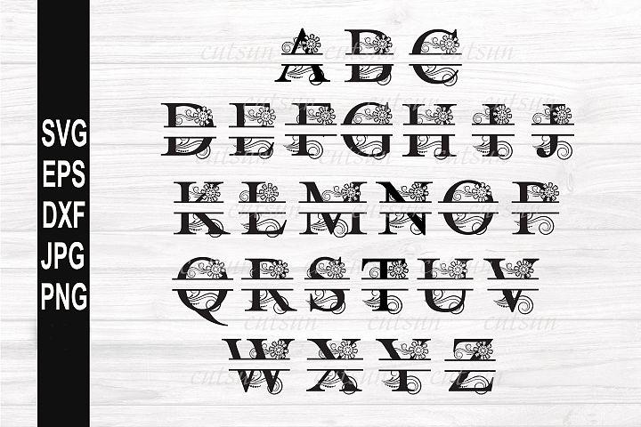 Split Monogram SVG Snowflake | Split letters SVG