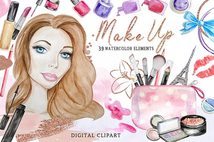 Watercolor Cosmetic Clipart, Make Up Set