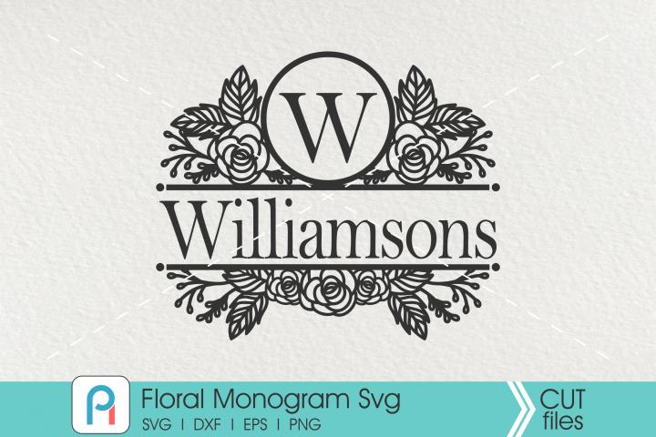 Flower Monogram Svg, Floral Split Monogram Svg, Flower Svg