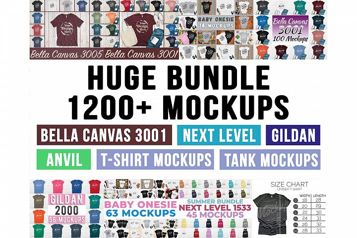 Huge Bundle Shirt Mockup, Bella Canvas, Gildan, Anvil Mockup