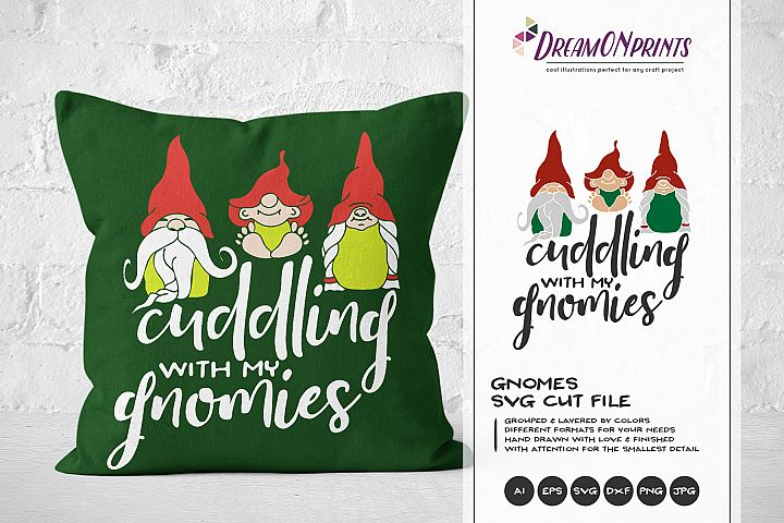 Cuddling with My Gnomies | Funny Christmas SVG