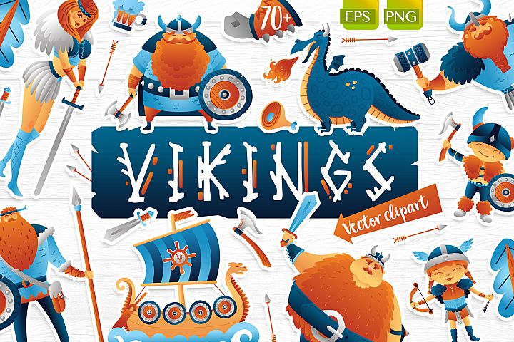 Vikings vector clip art illustration