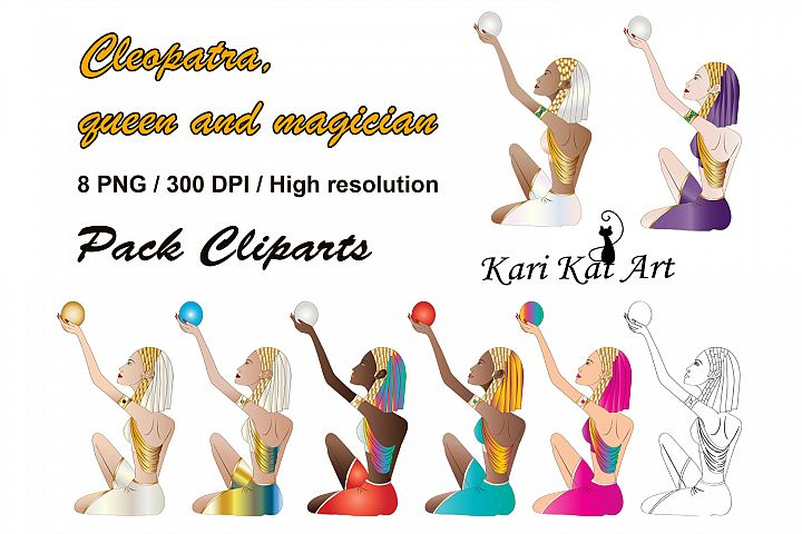 Cliparts Pack Cleopatra, queen and magician, scrapbook, prin