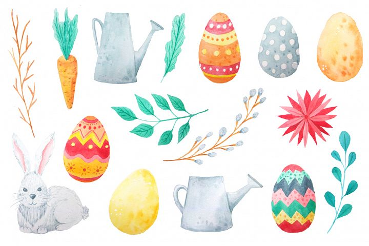 Watercolor Easter Set example 3