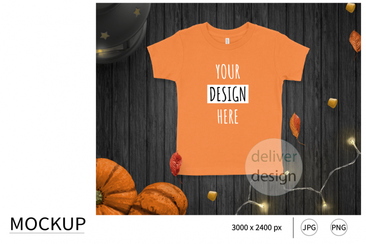 Halloween Orange Unisex Toddler Mockup. Bella Canvas 3001T.