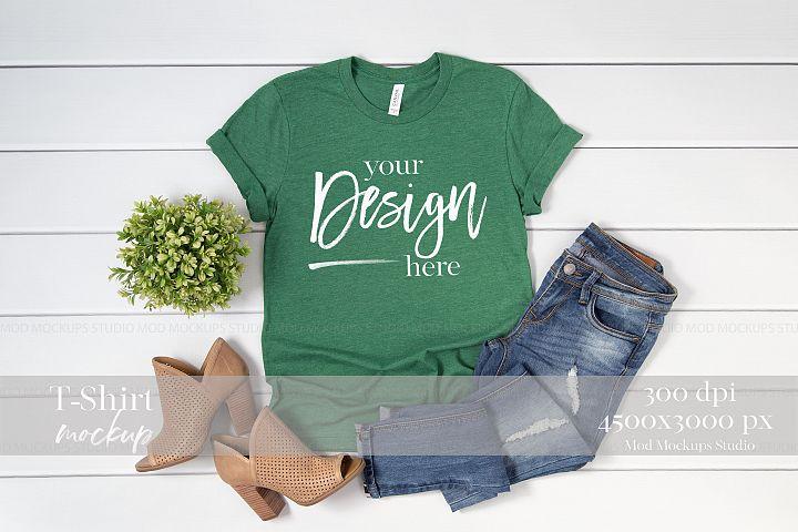 Mockup T-Shirt Heather Grass Green 3001 Bella Canvas Mockup