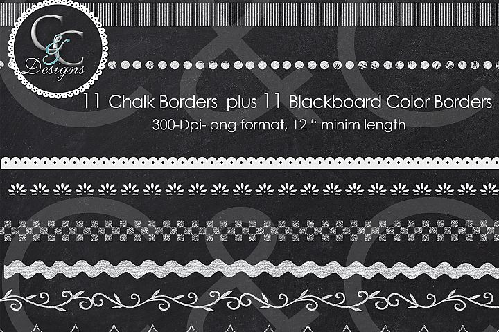 22 Chalkboard Borders Clip Art Pack- 11 Chalk Borders  plus 11 Blackboard Color Borders