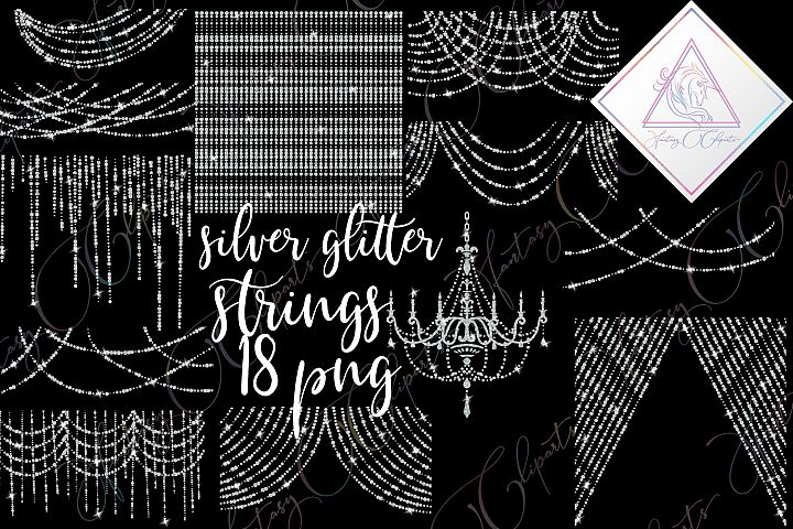Silver Glitter String Lights Clipart