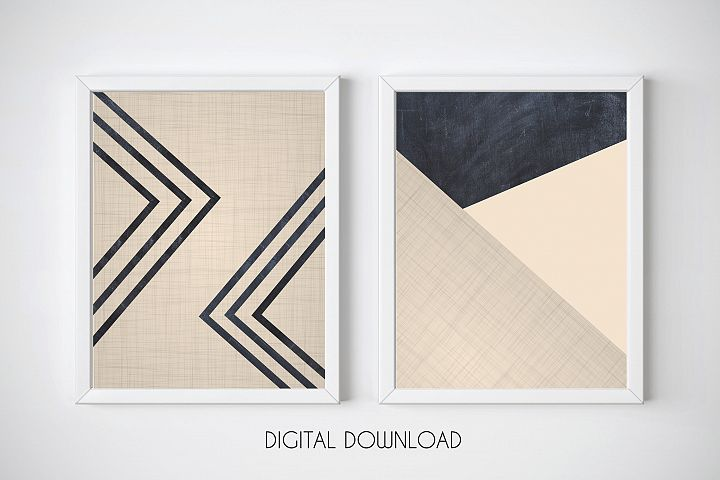 Pink and Dark Blue Wall Art, Geometric Print Set