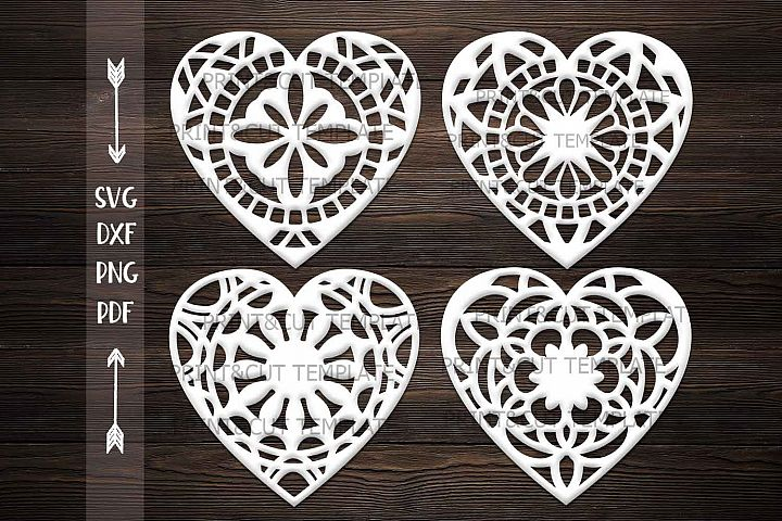 Patterned Zentagle Valentine Hearst laser cut template svg