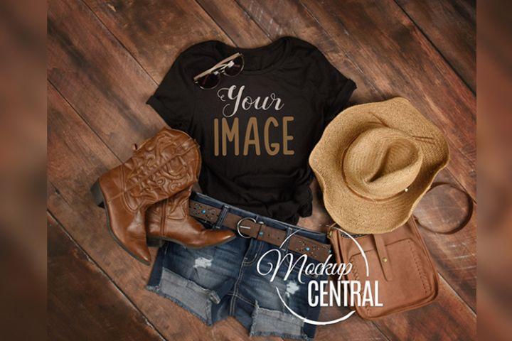 Womens Blank Country Western Rustic T-Shirt JPG Mockup
