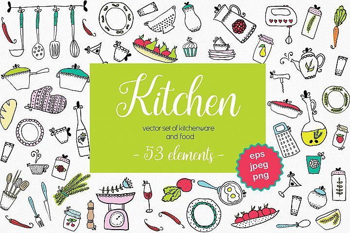 Vector set of kitchen utensils and food.