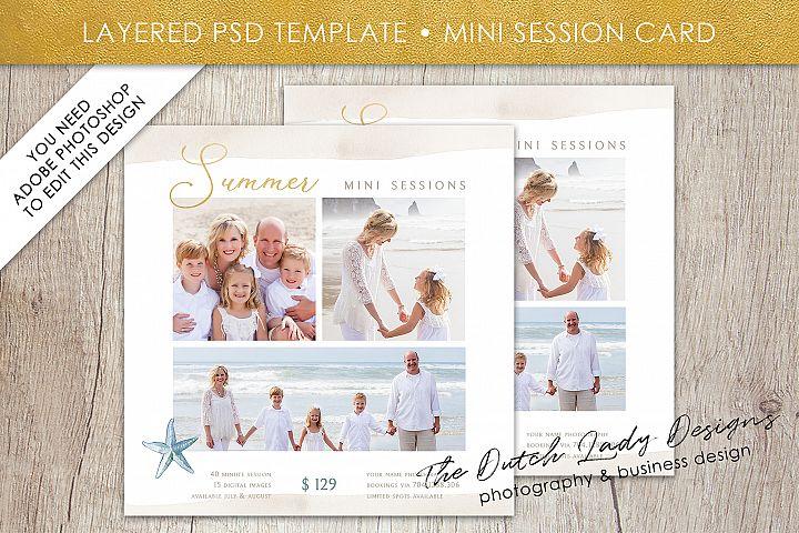 PSD Photo Summer Beach Mini Session Card Template - #42